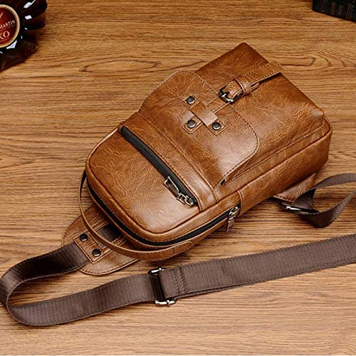 Outside Bag Universal Fashion Insouciant Outside Men Shoulder Messenger Bags Retro Men Waist Bag MUMUWU Sizing: S Color : Brown 26cm x 17cm x 5.5cm