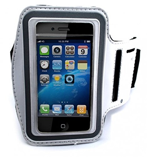 White Neoprene Sports Workout Arm-band Strap Case Fitness Running Gym Carrying Cover for Verizon Palm Treo 700w - Verizon Palm Treo 755p - Verizon Pantech Crux - Verizon Samsung Brightside