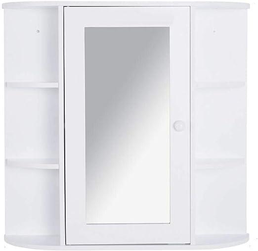 Amazon Com Bathroom Storage Cabinet White Wall Mount Over The Sink Shelf Organizer Mirror With Ebook Kitchen Dining