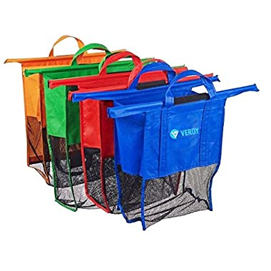 Bag For Trolley - 4 Reusable Grocery Shopping Bags For Cart - 4 Different Sizes And Colors