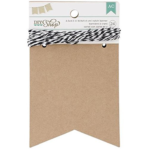 American Crafts 24-Piece Notch DIY Shop Kraft Banner, 3.5 by 4.5-Inch (Paper Banners)
