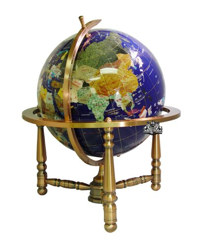 Unique Art 19-Inch Tall Blue Lapis Ocean Table Top Gemstone World Globe with Copper Stand w USA Divided State Stones and Divided Canadian Provincial Stones by Unique Art Since 1996 (Image #1)
