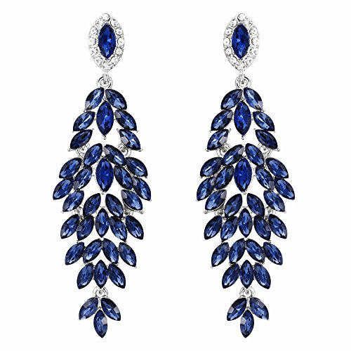 BriLove Women's Wedding Bridal Crystal Multi Marquise-Shape Leaf Cluster Chandelier Dangle Earrings Navy Blue Sapphire Color Silver-Tone