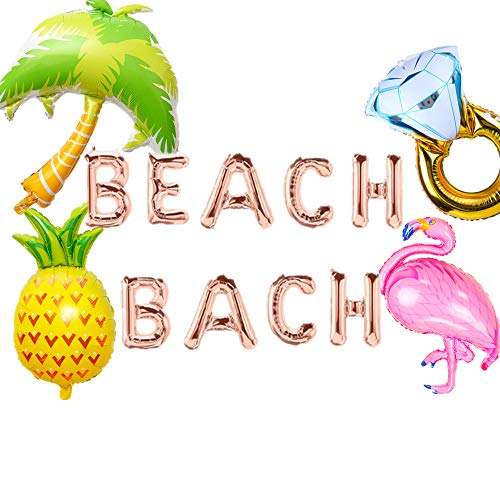 JeVenis Set of 5 Beach Bach Balloons Beach Bach Balloon Letters Beach Bachelorette Party Decorations Kit bachelorette party balloons beach bachelorette decor ()