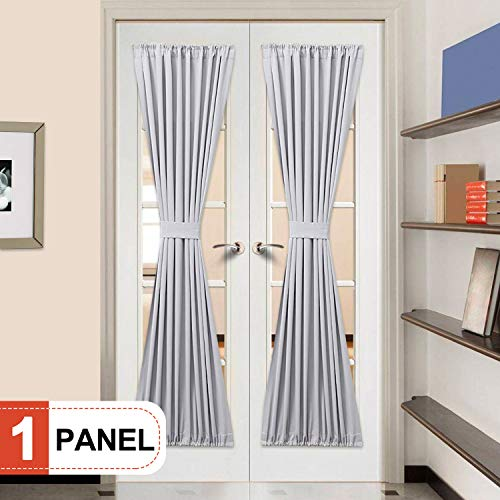 Rose Home Fashion Elegance Blackout Sidelight Panel Curtains 25W by 72L Inches-Side Lights Front Door Curtain/Panel-Grey(25x72)