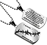 I Know The Plans (Jer 29:11) Silver Crown of Thorns Dog Tag Necklace in Gift Bag 3 Chain Lengths (24)