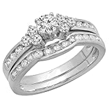 1.10 Carat (ctw) 14K White Gold Round White Diamond Engagement Bridal Ring Set 1 CT (Size 10)