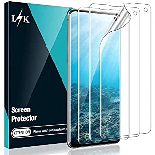 [2 Pack] L K Screen Protector for Samsung Galaxy S10, [in-Display Fingerprint] [Easy Install positioning tool] HD Effect Flexible Film
