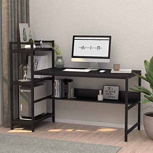 Computer Desk with 4 Tier Storage Shelves – 41.7 Student Study Table with Bookshelf Modern Wood Desk with Steel Frame for Small Spaces Home Office Workstation Black