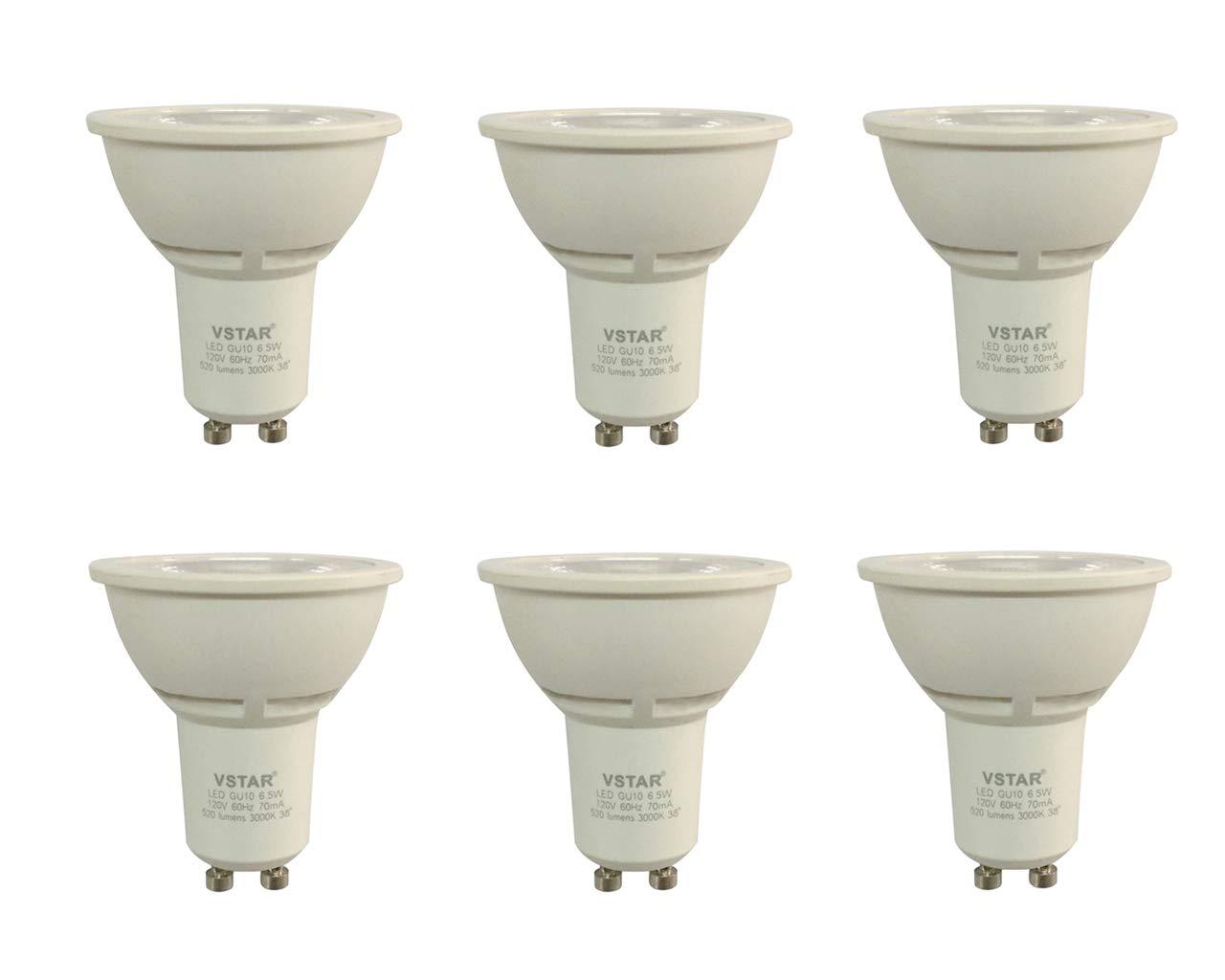 VSTAR LED GU10 Dimmable 6.5W Bulb,3000K Warm White Light Bulb (6.5W LED,6 Pack)