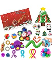 TYFT Kids Fidget Advent Calendar Toy 2021 , 24DAYS Christmas Countdown Calendar Pop It Fidget Toys Pack, Simple Dimple Push Bubble Fidget Box, Surprise Gifts Boxes Xmas Party Favor for Kids Gift