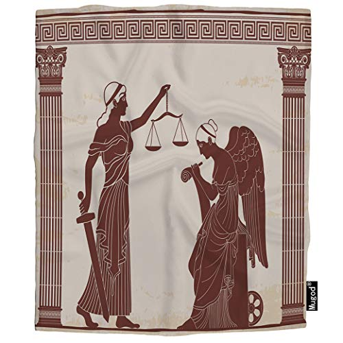 Mugod Themis Throw Blanket Ancient Greek Goddess Holds Sword and Scales Nemesis with Wings Soft Cozy Fuzzy Warm Flannel Blankets Decorative for Baby Toddler Swaddle Dog Cat 30X40 Inch