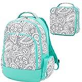 Reinforced Design Water Resistant Backpack and Lunch Bag Set - Parker Blue Grey Paisley
