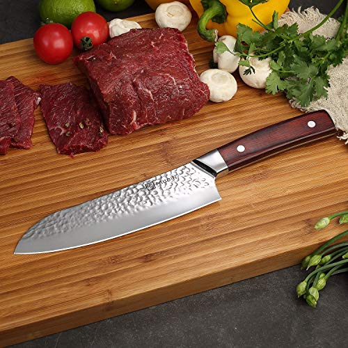 Santoku Knife 7 Inch, PAUDIN Pro kitchen knife High Carbon German Stainless Steel 7Cr17Mov Hammered Pattern, Sharp Knife with Ergonomic Pakka Wood Handle by PAUDIN (Image #5)