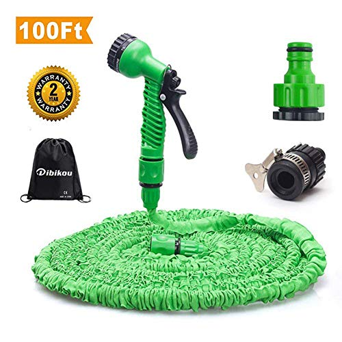 Dibikou 100FT Expandable Garden Hose Car Washing Hose No-Kink Water Hose Pipe for Cars Flexible Extension Hosepipe Anti Kink with Spray Nozzle Valve and Hose Holder Farm Hose 100 ft (Best Anti Kink Hose Pipe)