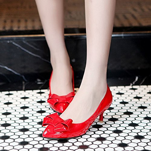 RAZAMAZA Mujer Bow Mini Tac¨®n de aguja Bombas Zapatos Rojo