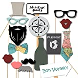 Adventure Awaits Globe Map Photobooth Props - for Travel Themed, Bon Voyage Up Up Away Party, Destination Wedding