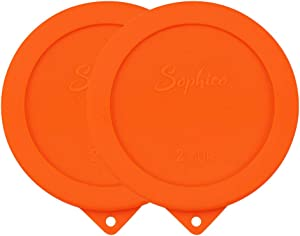 Sophico 2 Cup Round Silicone Storage Cover Lids Replacement for Anchor Hocking and Pyrex 7200-PC Glass Bowls (Container not Included) | Orange, 2 Pack |