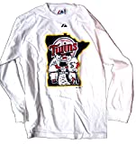 Men's White Long Sleeve Minnesota Twins Minnie & Paul Adult T-Shirt