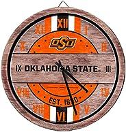 NCAA Oklahoma State Cowboys Team Logo Wood Barrel Wall ClockTeam Logo Wood Barrel Wall Clock, Team Color, One