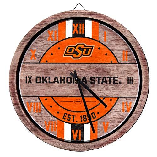 FOCO NCAA Oklahoma State Cowboys Team Logo Wood Barrel Wall ClockTeam Logo Wood Barrel Wall Clock, Team Color, One Size