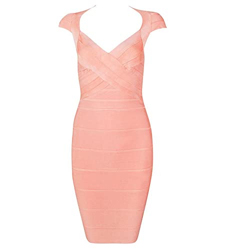 Hego Women's Backless Square Neck Pink Bandage Bodycon Party Dresses H092