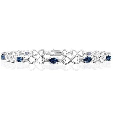 2adbeae12357 silvernshine joyas 1.80 Carat TW zafiro y SIM. Diamante Corazón Enlace  Pulsera En 14 K oro blanco pl  Amazon.es  Joyería