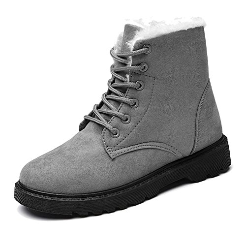 Women Martin Short Boots Suede Leather Flat Heel Thicker Plush Warm Casual Shoelace Ankle Cotton Shoes GRAY-39 Xl77Kia
