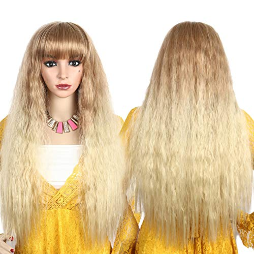 Degocixe 30'' Long Blonde Wigs for Women Brown Ombre Blonde Fluffy Hair Wigs with Bangs Sexy Lady Women Wigs Natural as Real Hair (Brown ombre Blonde) DX016