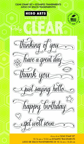 Hero Arts CL738 Messages with Flourish Clear Stamp Set by Hero Arts