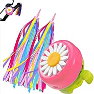 Tezam Kids Bike Bell and Streamers for Girls-1 Pack Flower Bicycle Bell with 2 Pack Handlebar Streamers Scoote