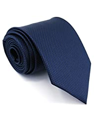 Shlax&Wing Solid Navy Necktie Mens Tie Blue Business Silk Extra Long 63""