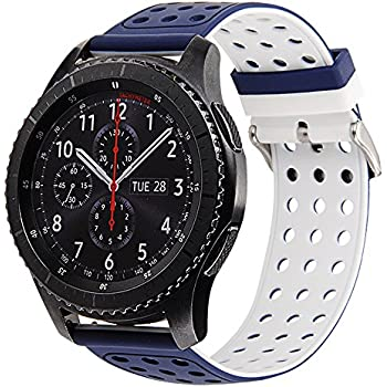 Gear S3 Bands Silicone, Maxjoy S3 Classic Frontier Watch Band Galaxy Watch 46mm Bands 22mm Soft Rubber Small Large Sport Replacement Strap with Buckle ...