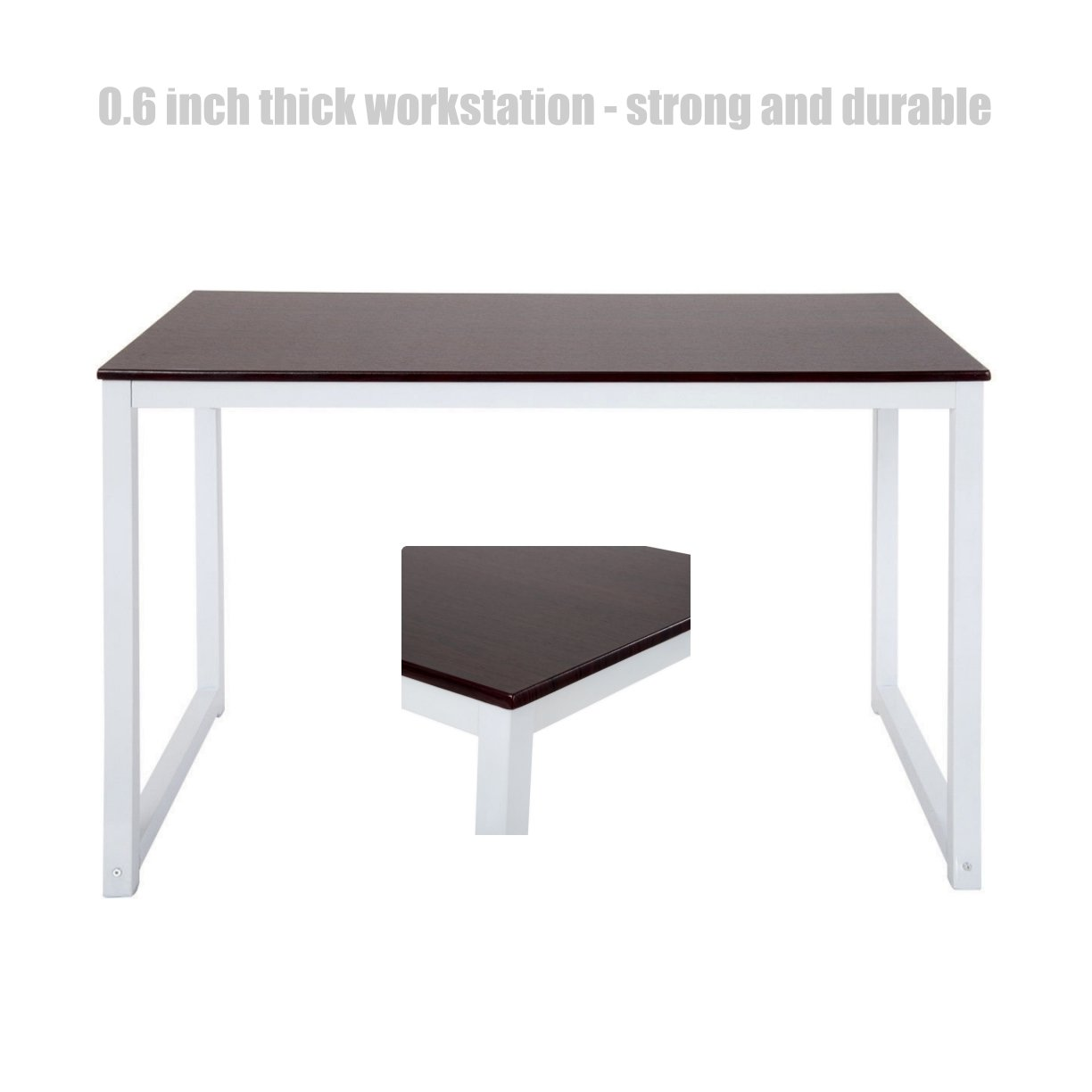 Amazon com modern design laptop computer wooden table solid powder coated steel frame durable workstation desk home office furniture brown 1387