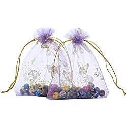 Anleolife 100pcs Purple Organza Bags Sheer Wedding Favors 3.9x4.7'' Lavender Baby Shower Drawstring Pouches Business Sample Display Gift Bags Soap Organizer 10*12cm(purple butterfly with gold print)