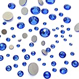 flatback swarovski crystals blue - SAPPHIRE (206) blue 144 pcs Swarovski 2058/2088 Crystal Flatbacks blue rhinestones nail art mixed with Sizes ss5, ss7, ss9, ss12, ss16, ss20, ss30
