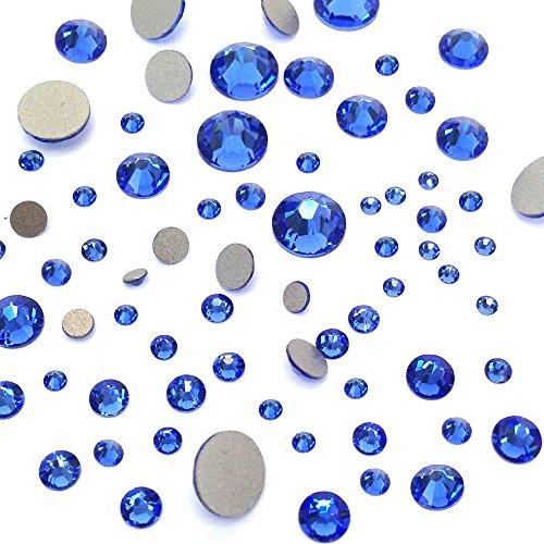 SAPPHIRE (206) blue 144 pcs Swarovski 2058/2088 Crystal Flatbacks blue rhinestones nail art mixed with Sizes ss5, ss7, ss9, ss12, ss16, ss20, ss30 by Crystal-Wholesale