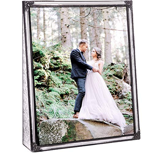 - J Devlin Pic 360-81V Vintage Clear Stained Glass Picture Frame Wedding Photo Frame Keepsake Gift Tabletop 8x10 Vertical
