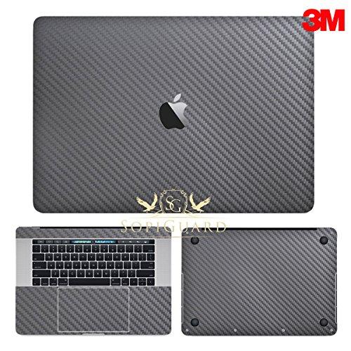 SopiGuard 3M Gunmetal Gray Carbon Fiber Full Body Precision Edge-to-Edge Coverage Vinyl Sticker Skin for Apple Macbook Pro 15 Touch Bar (A1707 A1990)