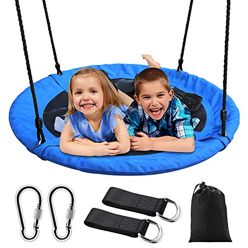 "Saucer Tree Swing, Outdoor Nest Swing for Kids, 40"" Large Round Saucer Swing 900D Oxford 700 lbs Weight Capacity 2 Height Adjustable Straps & 2 Carabiners, Accessories Set Included Easy Installation"