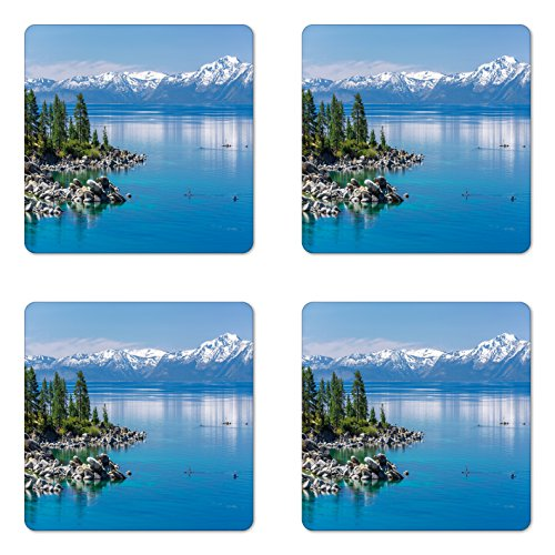 Coaster Set of Four, Blue Waters of Lake Tahoe Snowy Mountains Pine Trees Rocks Relax Shore, Square Hardboard Gloss Coasters for Drinks, Light Blue Green Grey ()