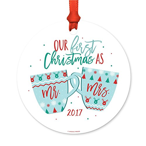 First Christmas Mug (Andaz Press Wedding Metal Christmas Ornament, Our First Christmas As Mr. and Mrs. 2017, Mr. & Mrs. Christmas Themed Coffee Hot Cocoa Mugs, 1-Pack, Includes Ribbon Gift Bag, Ugly Sweater Fair Isle)