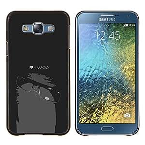 Eason Shop / Premium SLIM PC / Aliminium Casa Carcasa Funda Case Bandera Cover - Divertido del empollón del friki Mi Gafas - For Samsung Galaxy E7 E700