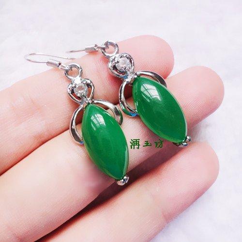 usongs Natural granular cargo silver inlay Jasper emerald green oil lancet-shaped silver earrings earrings earrings shipping ()