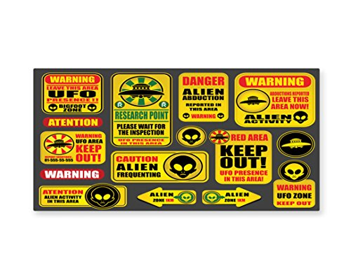 Lunarable Outer Space Wall Art, Warning Ufo Signs with Alien Faces Heads Galactic Theme Paranormal Activity Design, Gloss Aluminium Modern Metal Artwork for Wall Decor, 23.5 W X 11.6 L Inches, Yellow by Lunarable