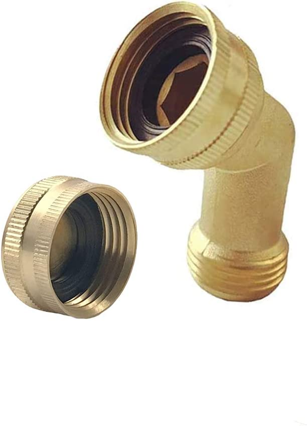 Brass Garden Hose Elbow Connector 45 Degree Hose Adapter with Hose End Cap