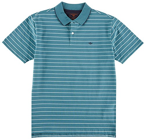 Dockers Men's Short Sleeve Signature Performance Polo, Harbor Blue Stripe, XL