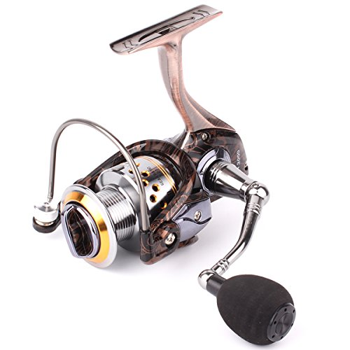 Geila Gapless Metal Body Spinning Fishing Reel with 13+1BB Ball Bearings for Saltwater Freshwater Fishing (HA3000) - Live Liner Spin Reel