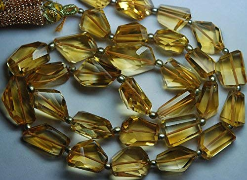 (14 Inch Strand,Superb-Finest Quality Golden Citrine Step Cut Faceted Nuggets,10-12mm by LadoNarayani )