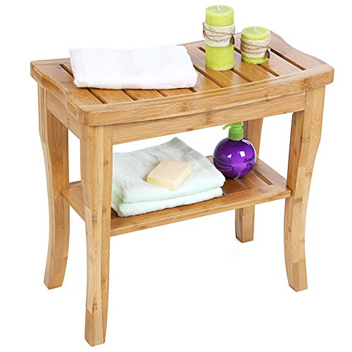 Songmics Bamboo Spa Bench Shower Seat Bench With Storage